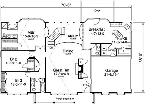 atrium ranch floor plans three atrium balconies 57033ha 1st floor master suite