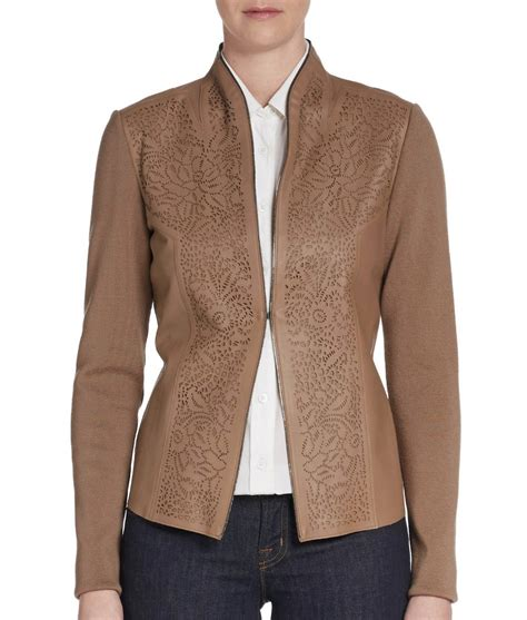 Basic Sweater Jaket Merry And Happy New Year elie tahari laser cut leather perforated paneled wool