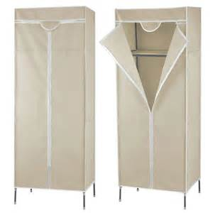 single beige fabric wardrobe clothes storage cupboard