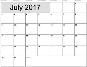 Calendar 2017 July July 2017 Calendar Uk