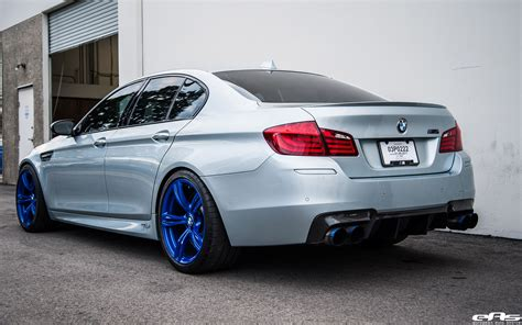 custom bmw silverstone bmw m5 with blue wheels a custom exhaust