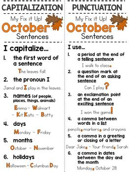 fix   sentences book  october capitals