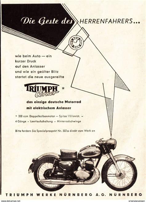 Motorrad Triumph Cornet by Werbung Original Werbung Anzeige 1955 Triumph Cornet