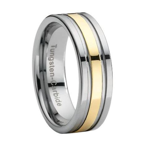 tungsten wedding band with gold stripe overlay just s