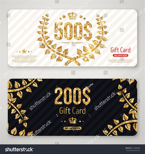 Gift Card Layout - gift card layout template gold laurel stock vector 519688480 shutterstock