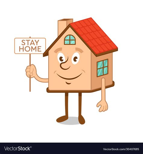 cartoon character house  message stay home vector image