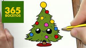 como dibujar arbol navidad kawaii paso a paso dibujos