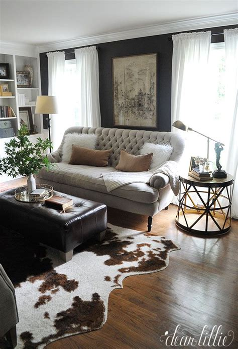 Living Room With Cowhide Rug - dear lillie more progress in our den study living room