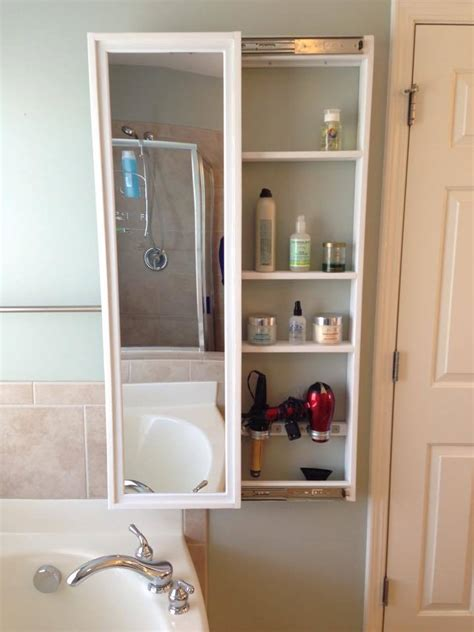 beauty storage cabinet  sliding mirror door ana white