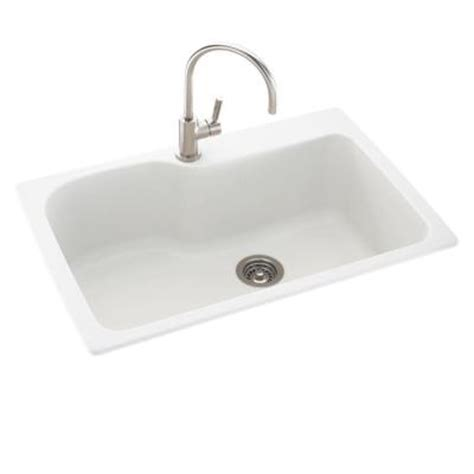 White Sinks Kitchen Swan Dual Mount Composite 33 In 1 Single Bowl Kitchen Sink In White Ks03322sb 010 The