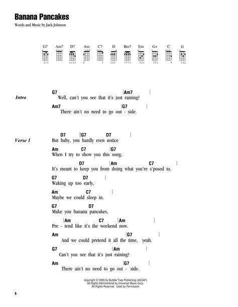 ukulele tutorial jack johnson banana pancakes sheet music by jack johnson ukulele with