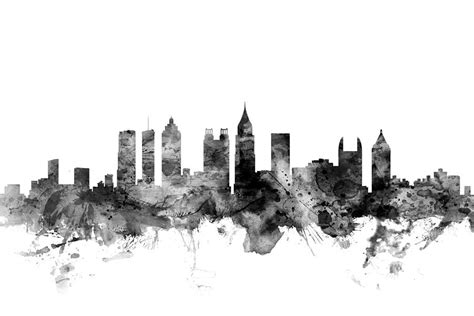 Home Decor Wallpaper Online India by Atlanta Georgia Skyline Digital Art By Michael Tompsett