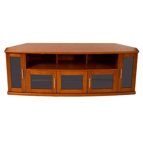 Tv Cabinet With Glass Doors Plateau Newport Series Corner Wood Tv Cabinet With Glass Doors For 90 Inch Screens Black Or