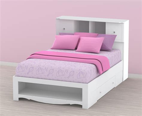 nexera pixel youth full size low bookcase storage bed