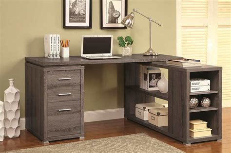 grey l shaped desk weathered grey l shape desk with silver hardware co 518
