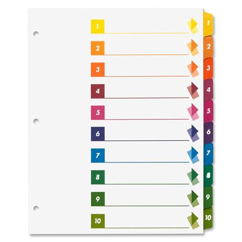 avery 10 tab template sparco table of contents index dividers ld products