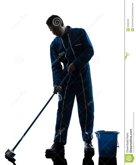 Free Vaccum Man Janitor Cleaner Cleaning Silhouette Royalty Free Stock