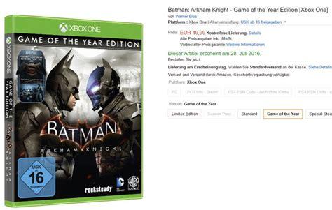 Ps4 Batman Arkham Of The Year Edition Goty germany lists batman arkham of the year edition