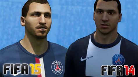 ibrahimovic tattoo fifa 14 fifa 15 vs fifa 14 paris saint germain face comparison