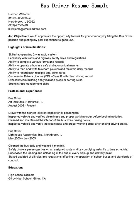 school driver resume sle resume format for driver post 100 images 7 truck