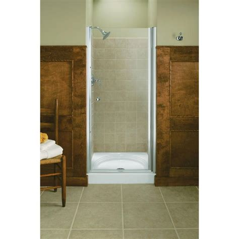 32 Shower Door Kohler Fluence 32 3 4 In X 65 1 2 In Semi Frameless Pivot Shower Door In Bright Silver With