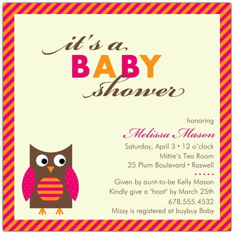 Pink Owl Baby Shower by Baby Owl Pink Baby Shower Invitations Paperstyle