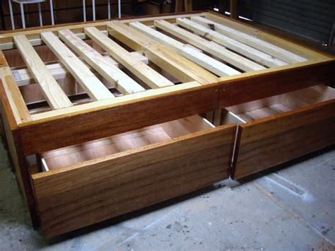 diy bed frame plans rustic hidden draws queen bed frame