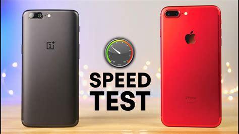 oneplus 5 vs iphone 7 plus speed test