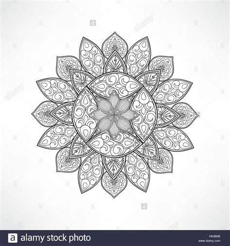 Vase With Flowers Coloring Page Geometric Flower Mandala For Coloring Mandala Vector