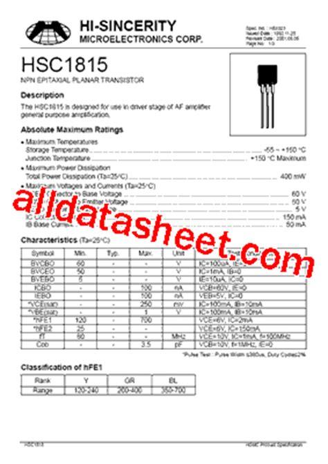 transistor equivalent book ebook c1815 datasheet pdf hi sincerity mocroelectronics