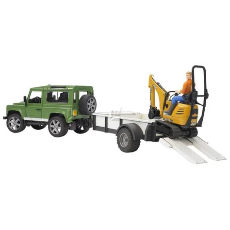 land rover bruder bruder land rover defender and trailer jcb and worker