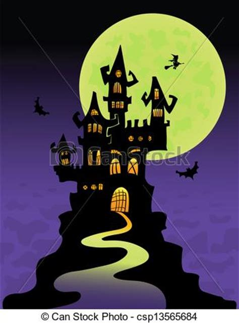 Small House Plans Free vector of the scary castle at mountain top halloween