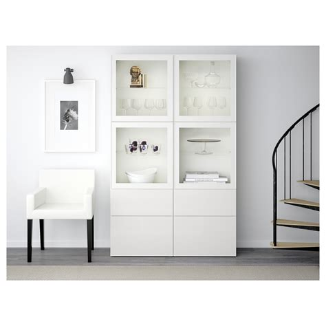 Besta Ikea Vitrine by Best 197 Storage Combination W Glass Doors White Selsviken