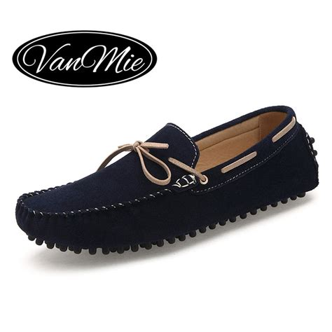 mens suede shoes loafers 2016 fashion loafers genuine leather casual shoes slip