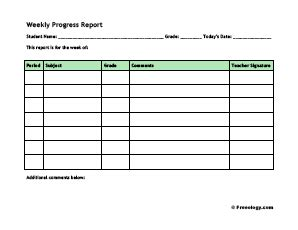 Weekly Progress Report Freeology Weekly Progress Report Template