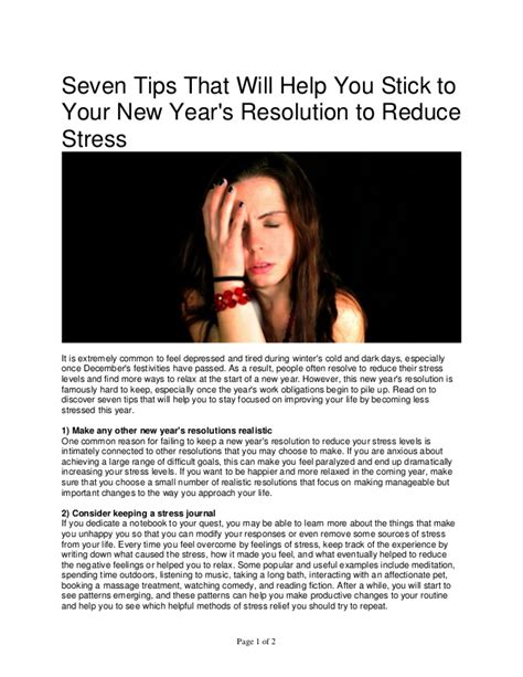 New Years Resolution Less Stress by Seven Tips That Will Help You Stick To Your New Year S