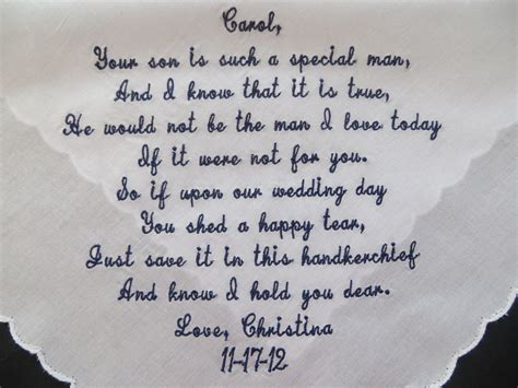 mother in law mother in law verse personalized wedding handkerchief free