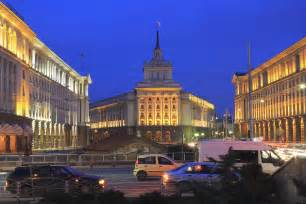 M S Duvet Cover Sofia City Centre At Night Bulgaria Photograph By Ivan