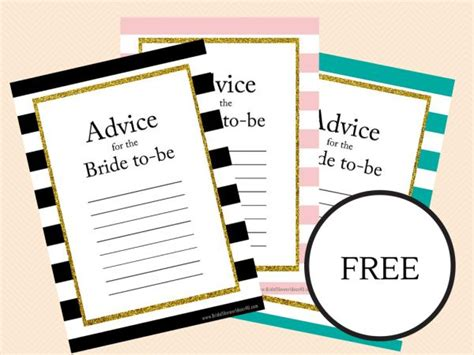 free printable wedding shower advice cards free printable bridal shower advice cards for the bride to
