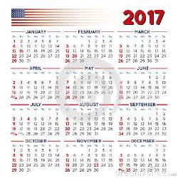 United States Of America Usa Kalender 2018 2017 Squared Calendar Usa Festive Stock Vector Image