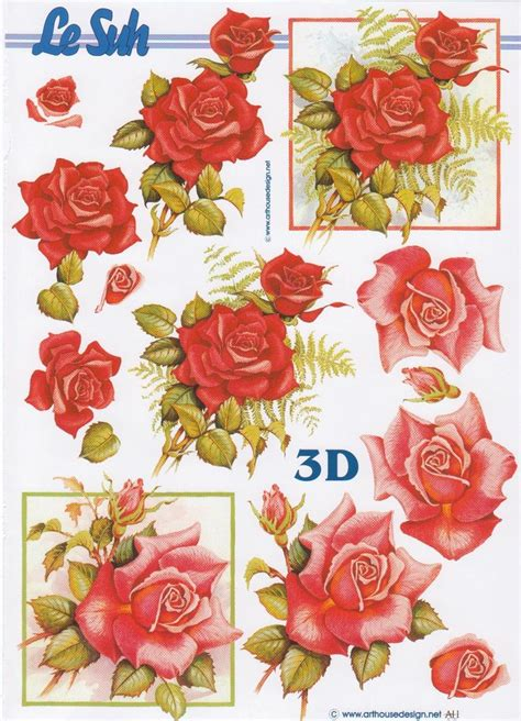Decoupage 3d Pictures - roses rouges 3d decoupage