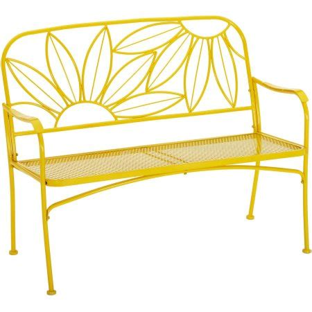 mainstays bench mainstays hello sunny outdoor patio bench yellow