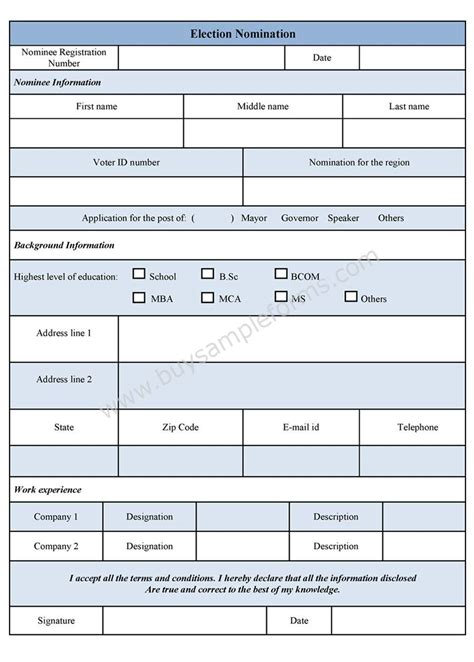 Election Nomination Form Template Nomination Form Template