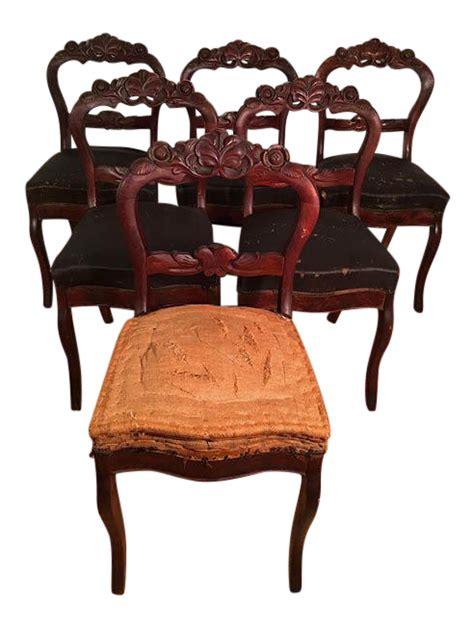 victorian mahogany dining room chairs set   chairish