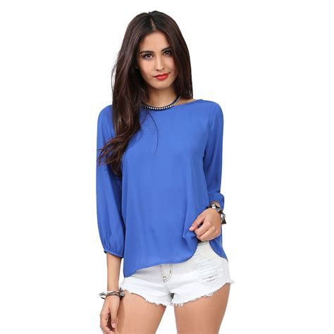 New Blouse 1 tops and blouses 2015 new fashion chiffon blouse plus size autumn sleeve blue blouse