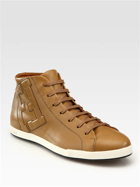 fendi sneakers fendi leather laceup sneakers in brown for tobacco