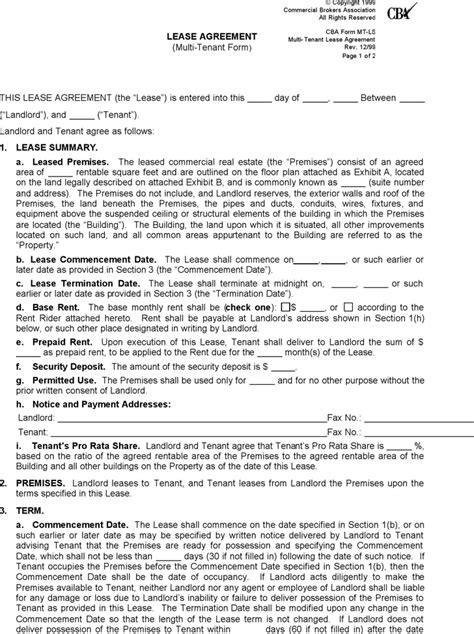rental agreement template washington state washington commercial lease agreement form for