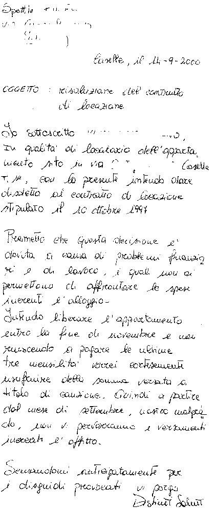 lettere disdetta contratto affitto i proprietari di casa