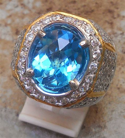 Blue Topaz Memo Ring Perak blue topaz blink blink web permata no 1