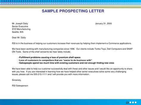Customer Prospecting Letter Sle Sales Letters To Prospects Images